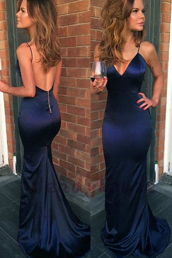 Sexy Mermaid Navy Blue Prom Dress 2019 Backless Sheath from MychicDress