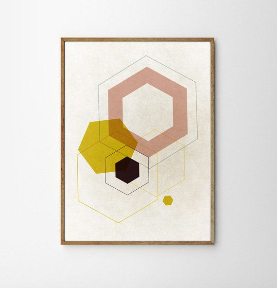 Mid Century Art Living Room Retro Geometric Scandinavian Print Minimalist Eames Abstract Wall Decor