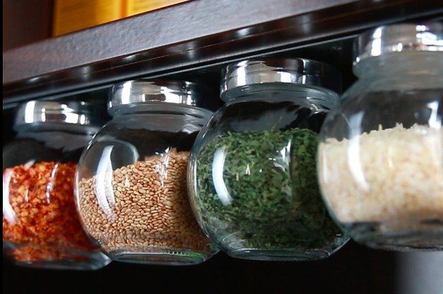 Check out the full video here: | These DIY Magnetic Jar Holders Will Save You So Much Cabinet Space