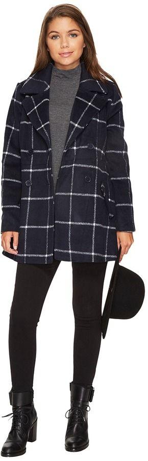 BB Dakota Parrelli Plaid Peacoat Women's Coat
