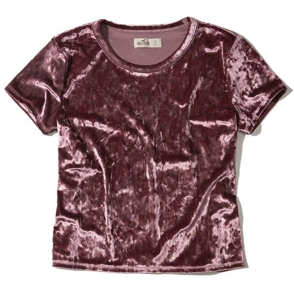 Hollister Velvet Baby T-Shirt ($25) ❤ liked on Polyvore featuring tops, t-shirts, purple, vintage style t shirts, purple top, purple velvet top, purple t shirt and crewneck t shirt