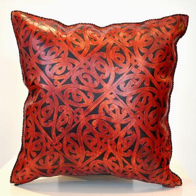Maori Design Patrick James Kura Gallery New Zealand Design Carved Leather Suade Kowhaiwhai Cusion