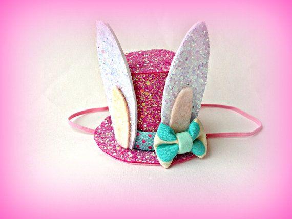 Easter Bunny Hat Easter Bunny Ears Pink Top Hat por littleblueolive, $29.50