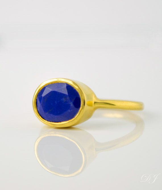 Oval Lapis Ring  September Birthstone Ring  Gemstone Ring