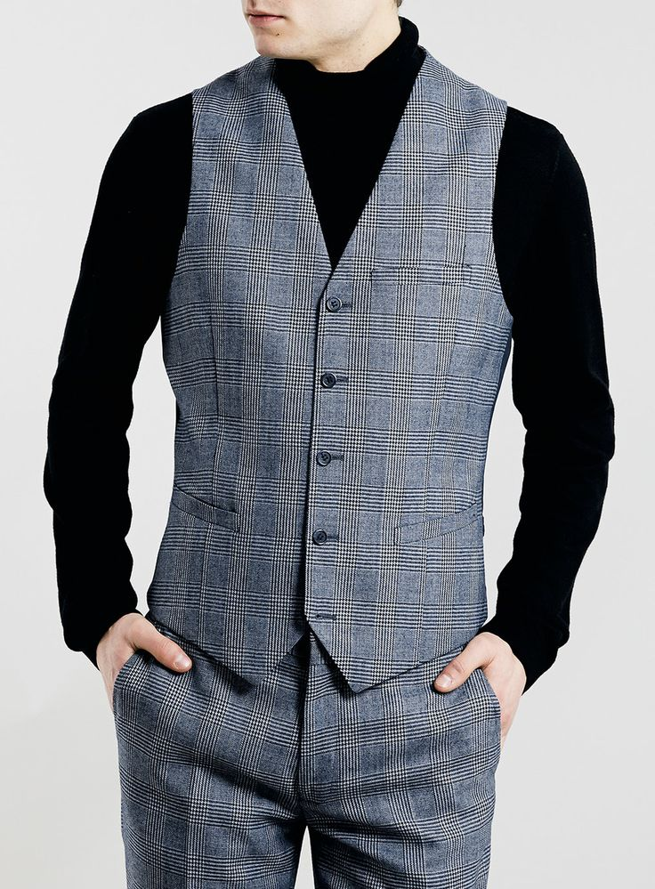 BLUE PRINCE OF WALES CHECK SUIT WAISTCOAT