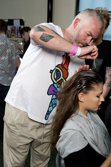 Adam Reed creating looks for the House of Holland SS14 look using BaByliss PRO tools.