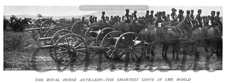 The Royal Horse Artillery 1900. Mounted soldiers and gun carriages.