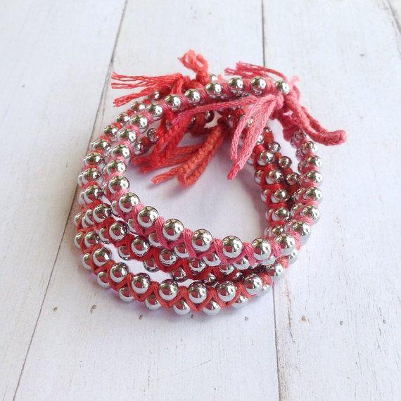 Set of 3 Bohemian Ombre Woven Metal Bracelet by tenaseeandteneil