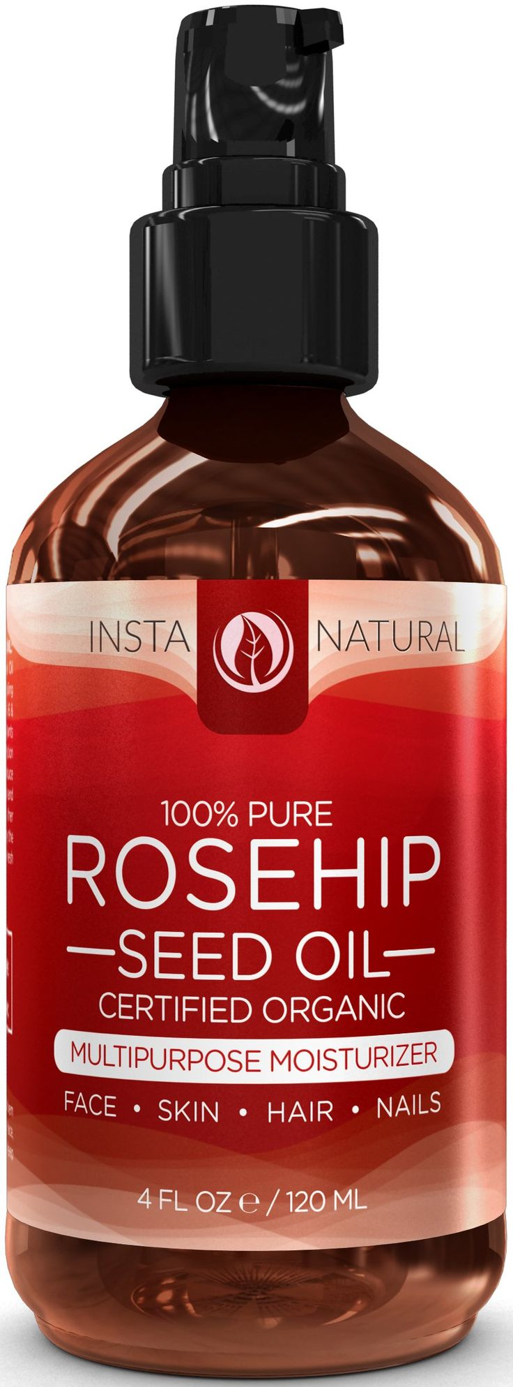 ORGANIC Rosehip Oil - 100% Pure & USDA Certified -HUGE 4OZ- Great Moisturizer for Skin, Hair, Stretch Marks, Scars, Discoloration, Wrinkles & Fine Lines - BEST Unrefined, Cold Pressed Virgin Rosehip Seed Oil For Face and Skin - Guaranteed Results