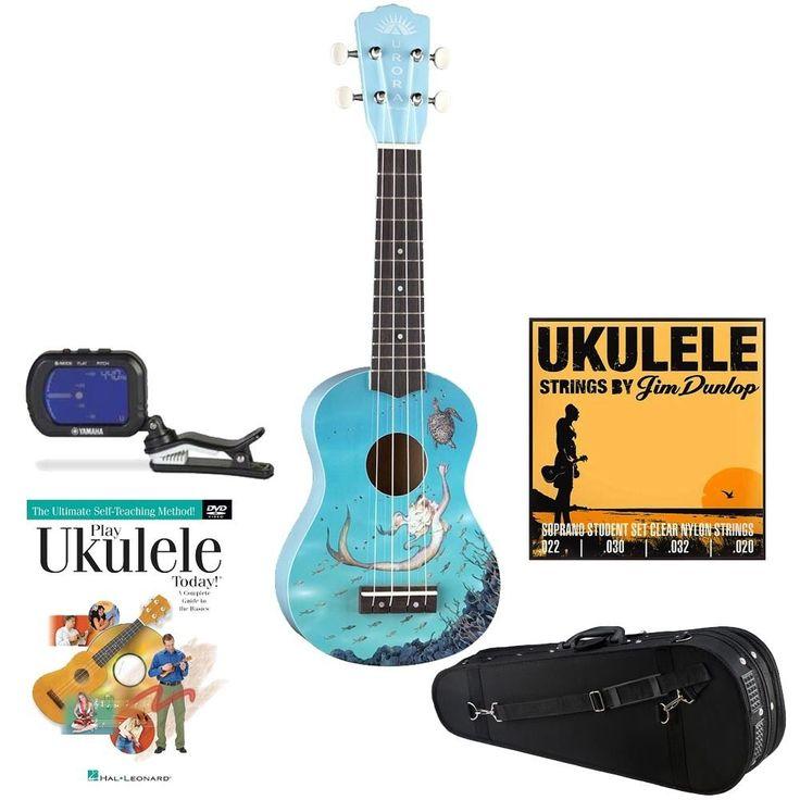 Luna Aurora Soprano Ukulele Blue Mermaid Knox Case TunerUke DVD Uke Strings