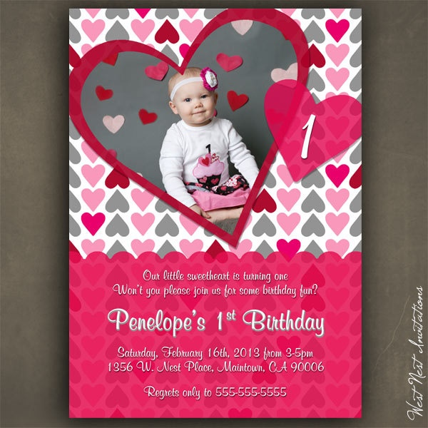 Heart Invitation Valentine Birthday Invitation Red And Pink Hearts