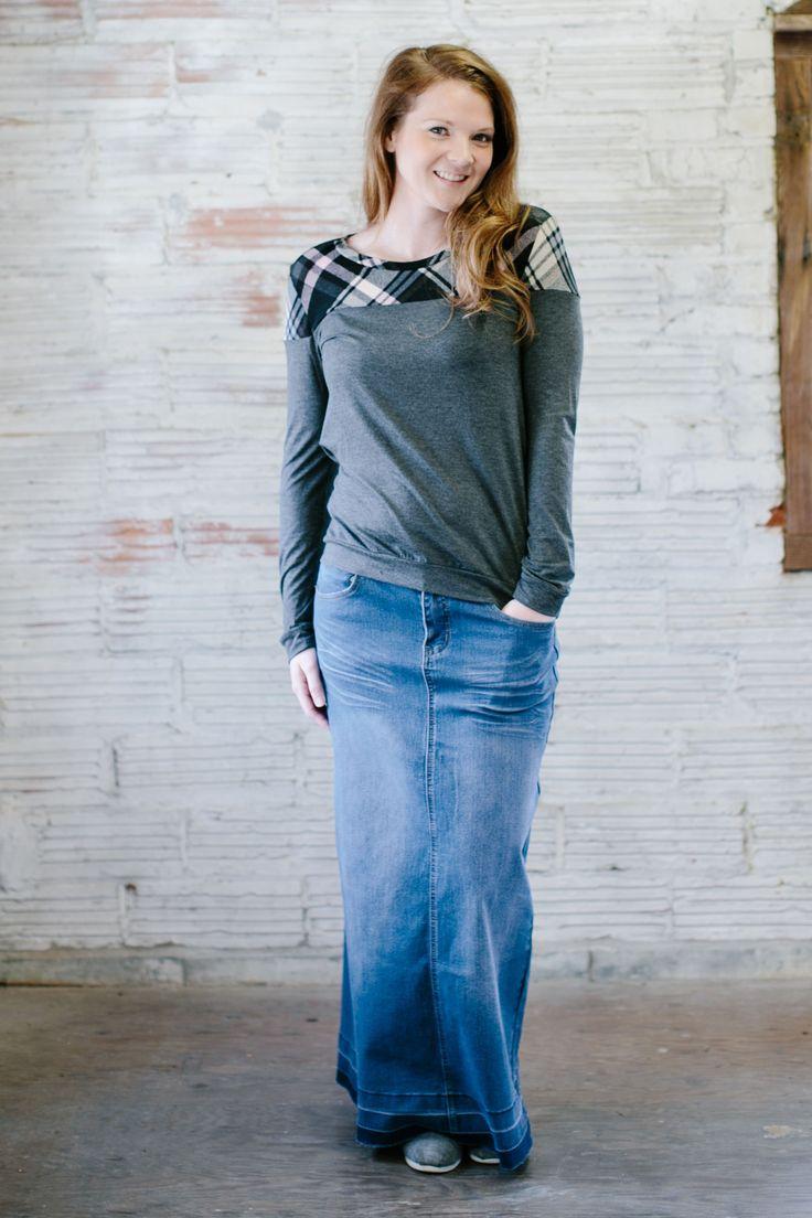 'Dana' Long Jean Skirt | No Slit Modest Skirt