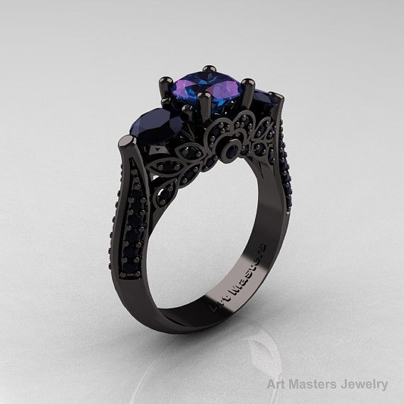 Classic 14K Black Gold Three Stone Russian Chrisoberyl Alexandrite Black Diamond Solitaire Ring.