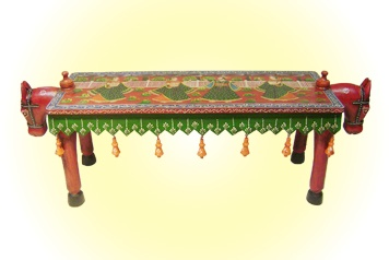 Double-sided Horse Bench  'Kishangarh' Handpainted   MRP - Rs. 5495