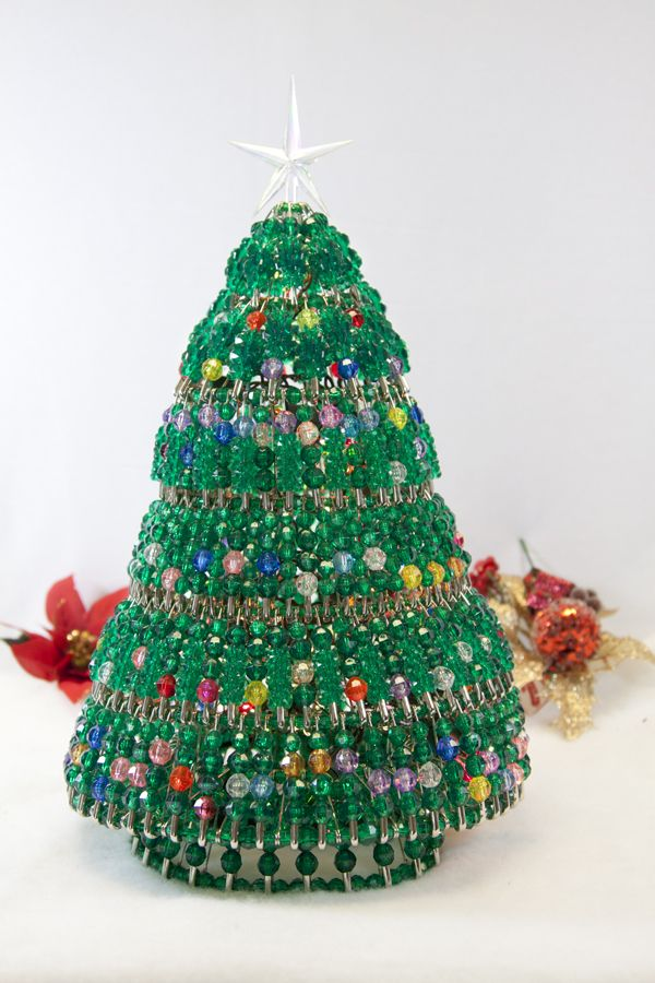 Starflake Bead Craft Beaded Christmas Tree Safety Pin Tree Craft Comes With Beads Safety Pins W Christmas Tree Kit Holiday Crafts Christmas Ornament Kit