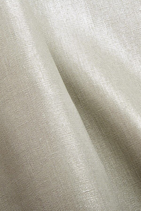 Metal Finish Linen Fabric - 100% pure Linen - Silver metal finish