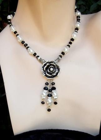 Black and white Piano Rose necklace bracelet and by BaubleVisions, $59.00