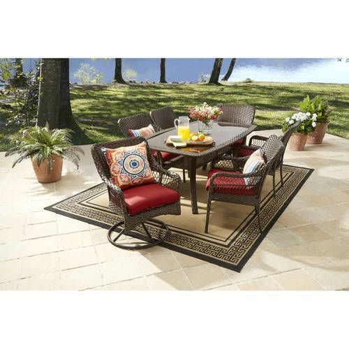 waterproof wicker 7pc patio garden dining furniture set table chairs clearance better homes