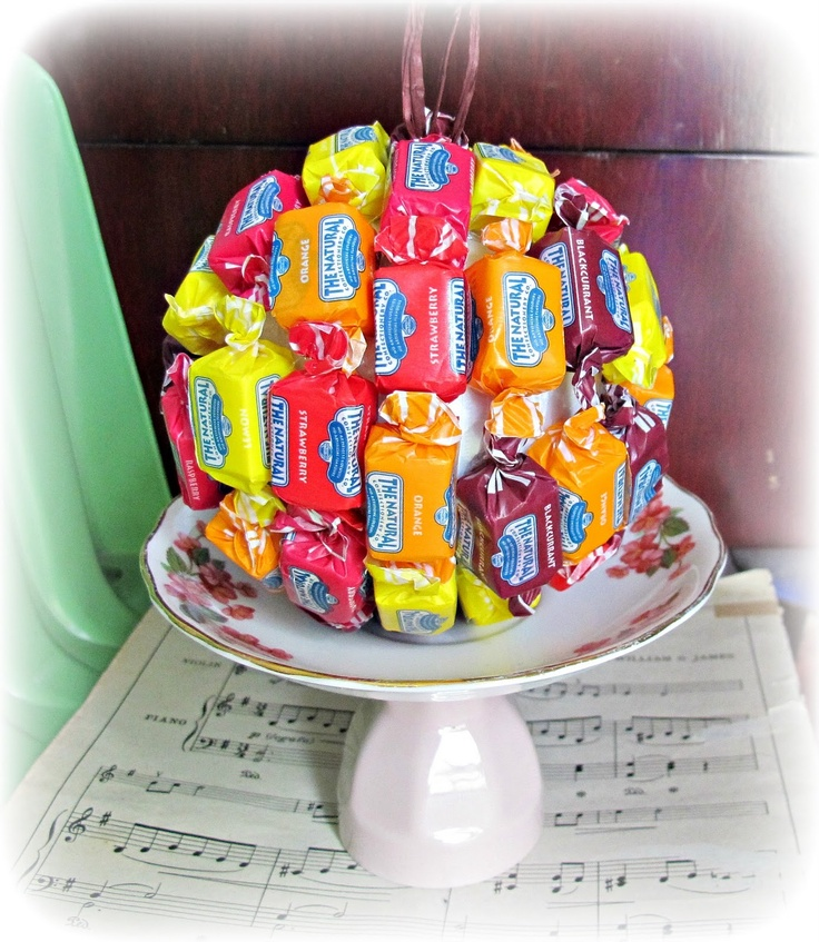 Great idea for school holiday bazaar! Edible Christmas ornament ball lollies candies sweets