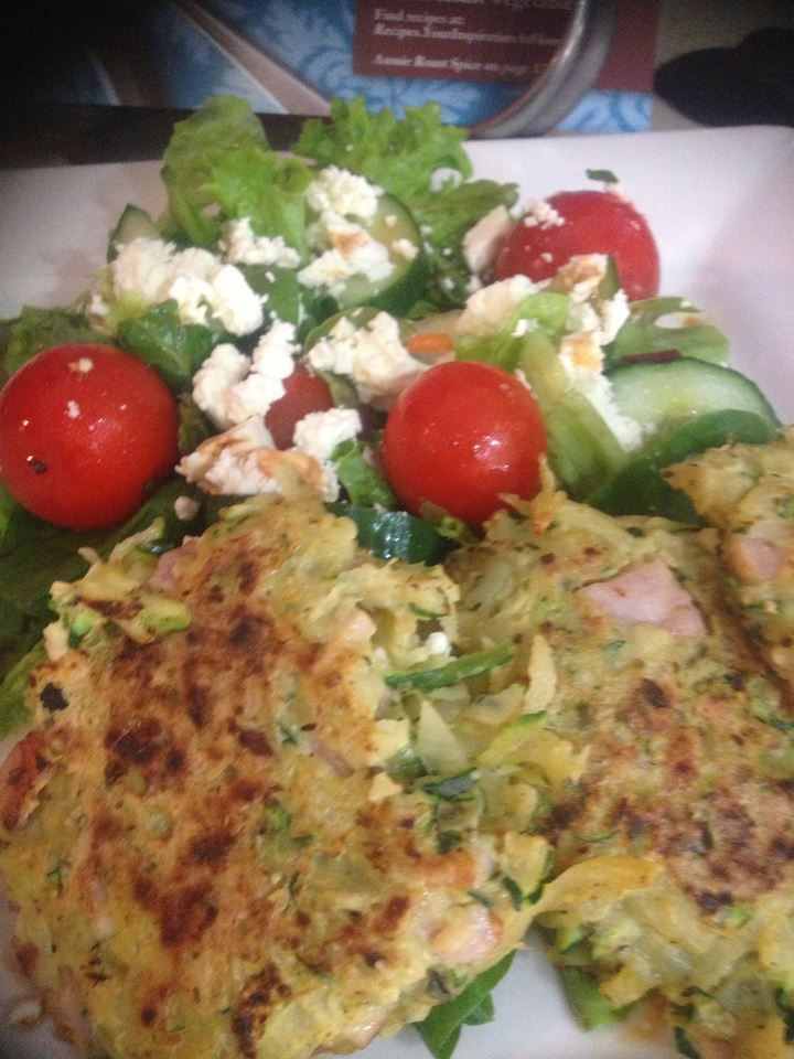 ZUCCHINI & BACON FRITTERS | YUMMY & HEALTHY - 2-3 Zucchini's (grate & drain off excess moisture on paper towel), 5-6 Rashers of Bacon (diced), 2 eggs (beaten), 2-3 potatoes (grated) & 1 heaped tablespoon of YIAH Thai Green Curry Dip Mix. Mix all ingredients together & marinate as long as time allows. Roll into a fritter shape & cook on baking paper until golden. Served with Salad & a mix of YIAH Caramelised Balsamic & YIAH Intense Garlic Olive Oil as a dressing. ENJOY!!
