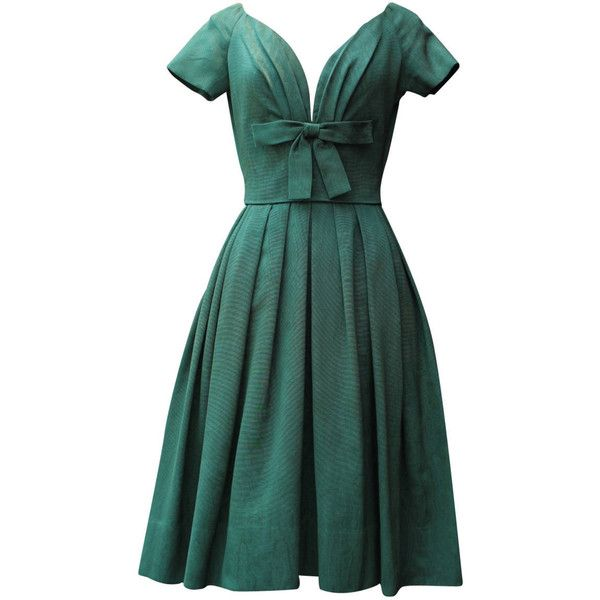 Pre-owned 1950s Christian Dior Boutique Green Cocktail Dress (70,015 DOP) ❤ liked on Polyvore featuring dresses, cocktail dresses, day dresses, structured dress, preowned dresses, christian dior, short dresses and short sleeve cocktail dress
