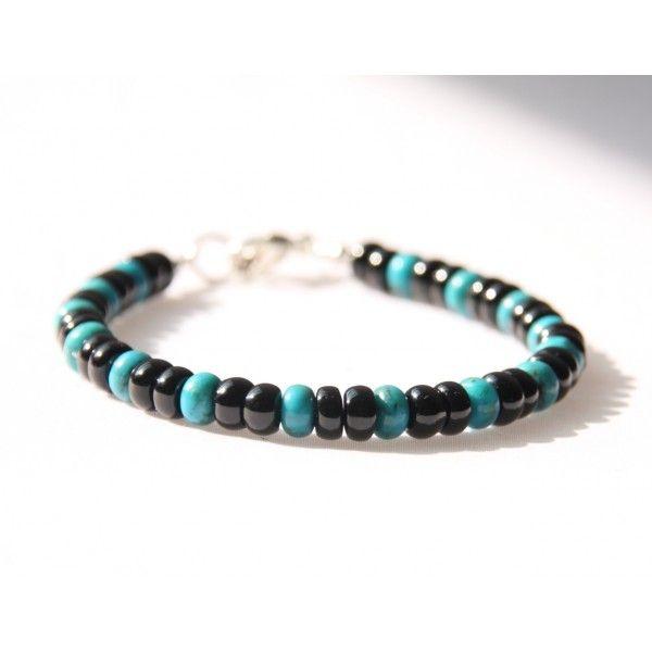Bracelet Homme Turquoise Tourmaline noire Men's bracelet