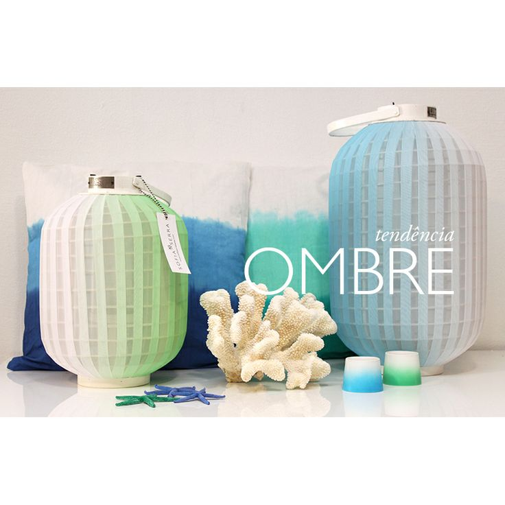 Ombre Lanterns  Telights  Available at www.sofiaserrabazaar.com  #ombre #corals #seafish #cobalt #blue #green