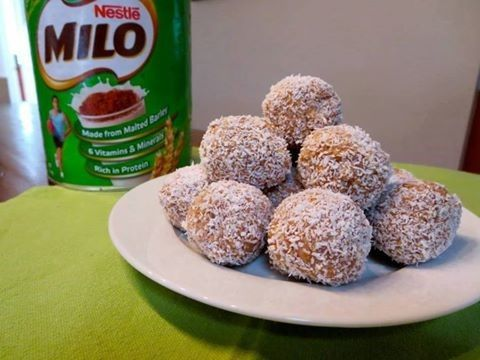 Ingredients 1 x 250g packet marie biscuit, crushed 1 x tin condensed milk 4 x tablespoon milo ½ cup coconut Extra coconut for rolling Method In a large bowl crush biscuits until fine. (This works...