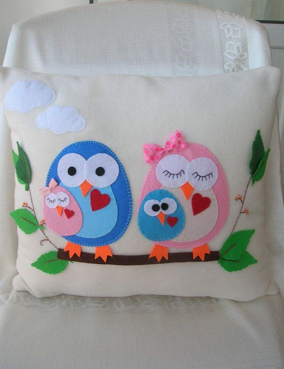 Owl family pillows by Lilamina on Etsy, $29.90
