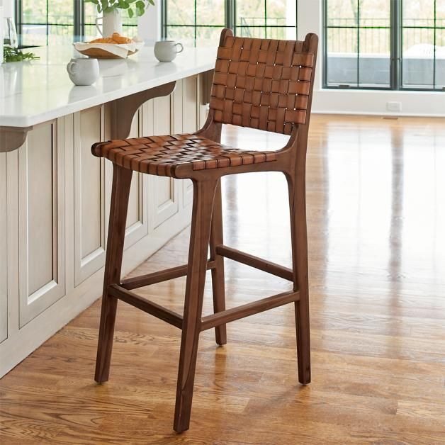 Augusto Low Back Bar Counter Stool Counter Stools Woven Bar Stools Leather Counter Stools