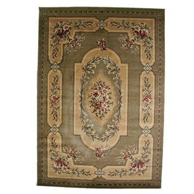 victorian rugs | Quick Ship Ailish Floral Border Sage Green Victorian Area Rug