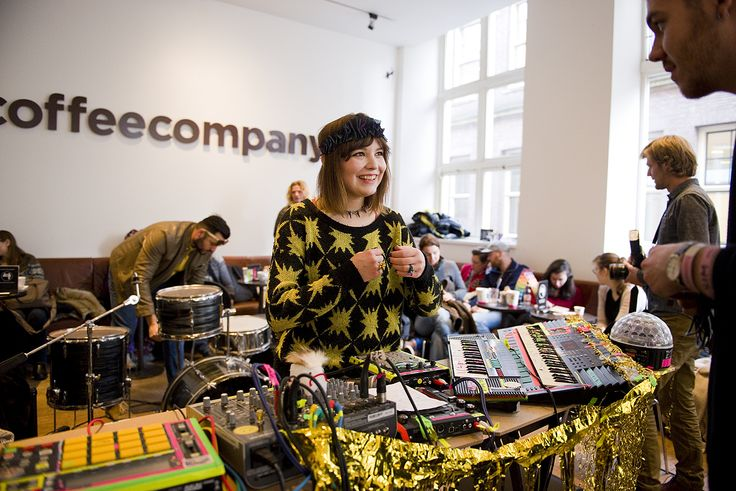 DJ Flugvel OG Geimskip, with creative musical instruments at the Coffee Compagny Groningen, during Eurosonic 2015.