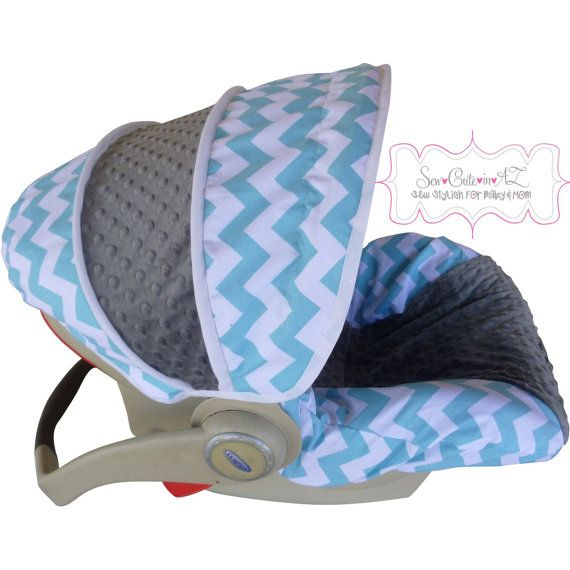 Aqua Chevron with Charcoal Infant Car Seat Cover  I really really want