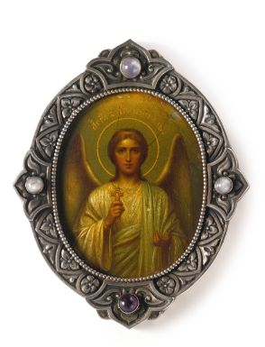 A FABERGÉ GEM-SET ICON OF THE GUARDIAN ANGEL, WORKMASTER KARL HJALMAR ARMFELT, ST. PETERSBURG, 1904-1908 the borders of the silver frame decorated with foliate ornament and set with three moonstones and one amethyst, the center painted with the Guardian Angel, marked with Cyrillic initials of workmaster, Fabergé in Cyrillic and 88 standard, also with scratched inventory number 14239.