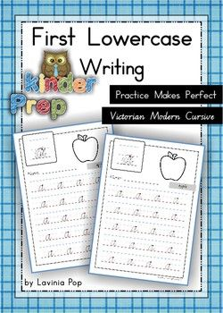 Handwriting - Practice Makes Perfect {Lowercase Letters} Vic. Modern Cursive fontI have made these lowercase handwriting practice sheets to address the Preschool and Prep (Kindergarten) level of learning and writing. The lines and letters are at an ideal size for these young learners!How to use this bookThis book contains basic handwriting sheets for children who need the extra practice to perfect their letters.