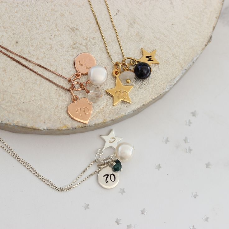 70th birthday charm necklace personalised with birthstone