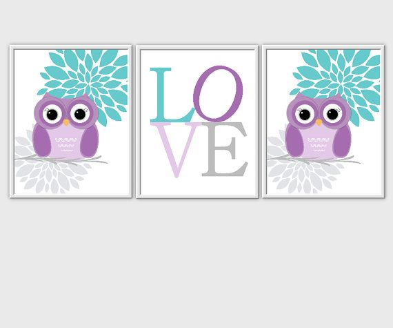 Purple Teal Owl Baby Nursery Wall Art Baby Girl Nursery Prints LOVE Customize Girls Room Decor Baby Girl Decor 3 PRINT SET
