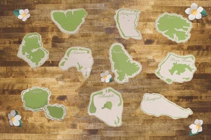 Tableau tema Isole Polinesia Seating Chart Polynesian Island Theme - Wedding Travel theme Idea @Gli Acquerelli di Loredana