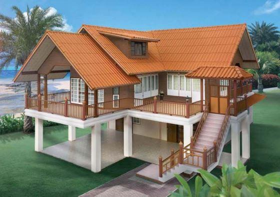 แบบบ้านทรงไทยประยุกต์ ยกพื้นสูงเปิดโล่ง รับบรรยากาศภายนอกได้เต็มเปี่ยม | NaiBann.com