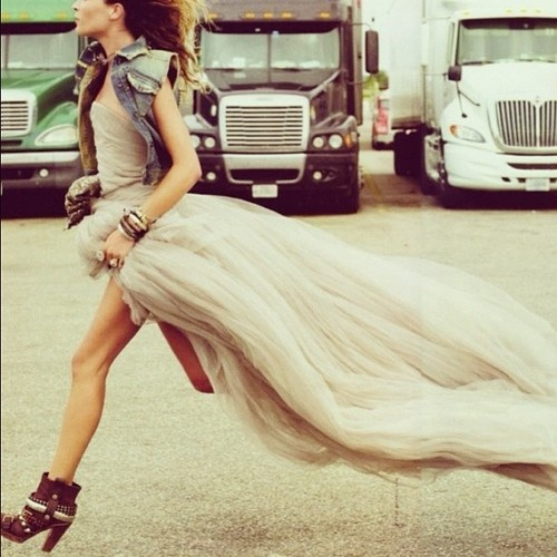 Denim and tulle. Always good to know a seamstress!  #TeamTulle!