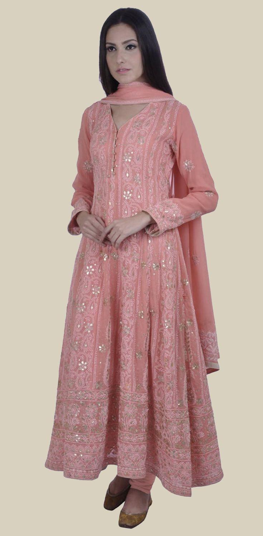 Peachy Pink Chikankari and Gota Patti Anarkali Pure Georgette Suit