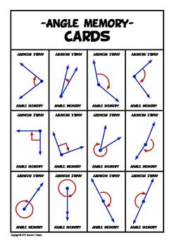 Math Angle Memory Game match angles with their name