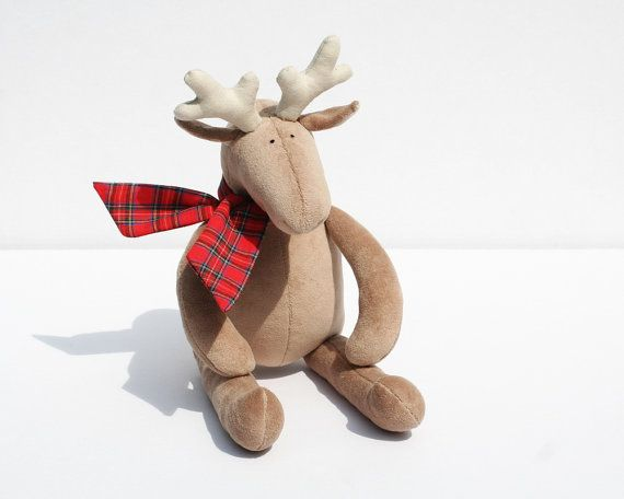 Stuffed Plush Reindeer, Cuddly animal for kids - $28.00