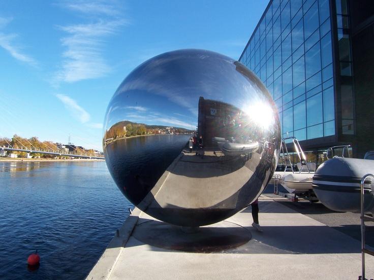 "Part of Drammen, Norway's ""River Harp"""