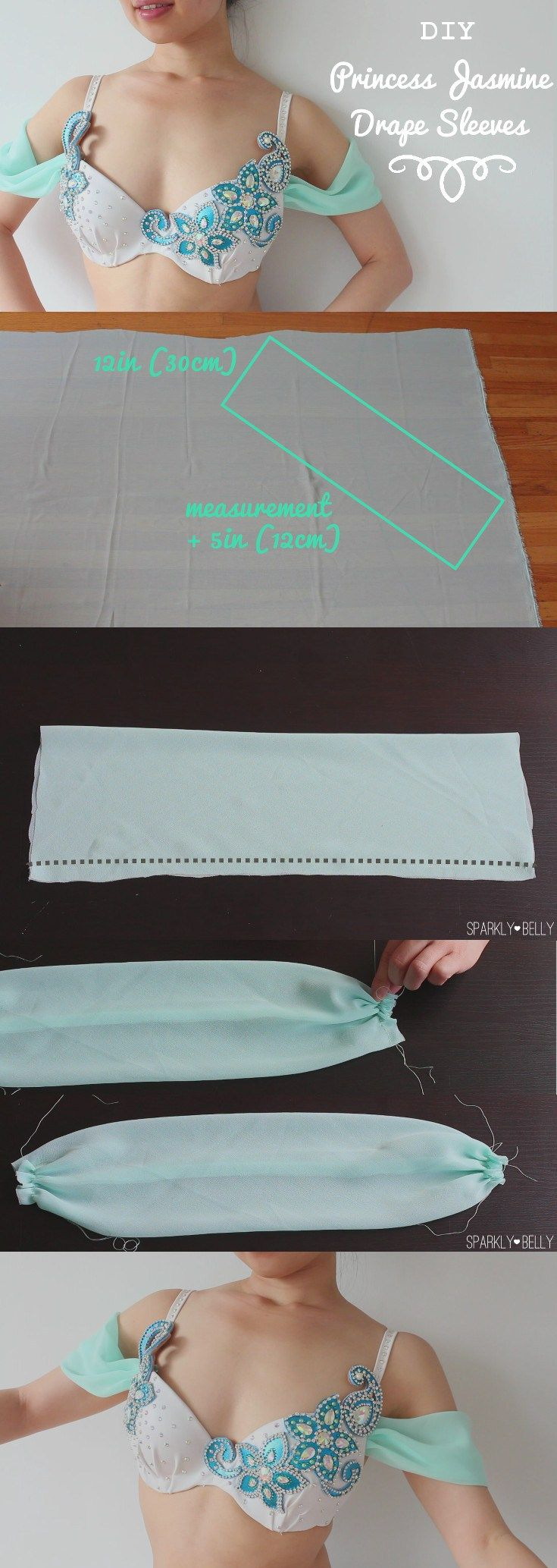 I love the sleeves on Princess Jasimine's outfit! Airy and romantic :) These are great for dance costumes and/or dresses. Princess Jasmine Sleeves DIY - Romantic Drape Sleeves