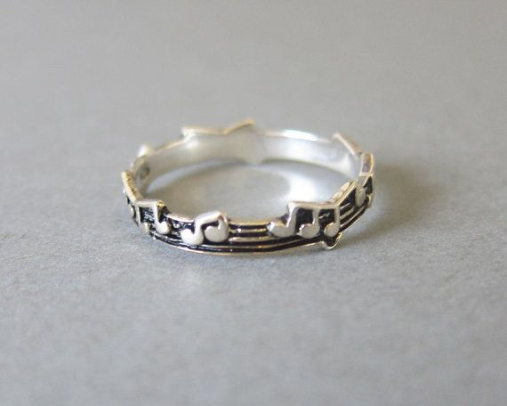 Tiny Sterling Silver Music Note Ring, Music Ring, Everyday jewelry, Simple Ring, Note Ring on Etsy, £13.62