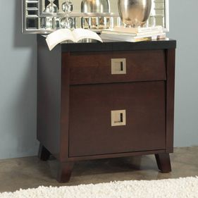 Domusindo $323 - angelo:HOME Marlowe Charging Station Nightstand - Crafted from solid tropical mahogany wood and cherry wood veneer,this nightstand features a built-in power outlet for your convenience. Satin nickel pulls and full-extension ball bearing drawer glides complete this nightstand.