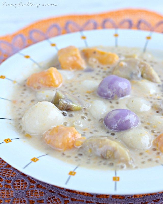 Ginataang Bilo bilo (glutinous rice balls in coconut milk ...