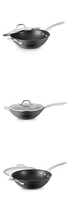 "Calphalon Elite Nonstick Wok. Calphalon 1948257 Signature Hard Anodized Nonstick Covered Flat Bottom Wok, 12"", Black.  #calphalon #elite #nonstick #wok #calphalonelite #elitenonstick #nonstickwok"