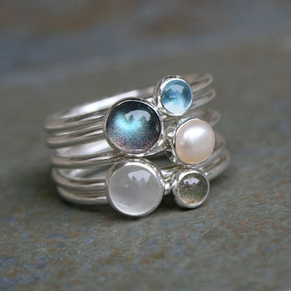 Moonlight on Water Sterling Silver Stacking Rings Labradorite Blue by KiraFerrer on Etsy.
